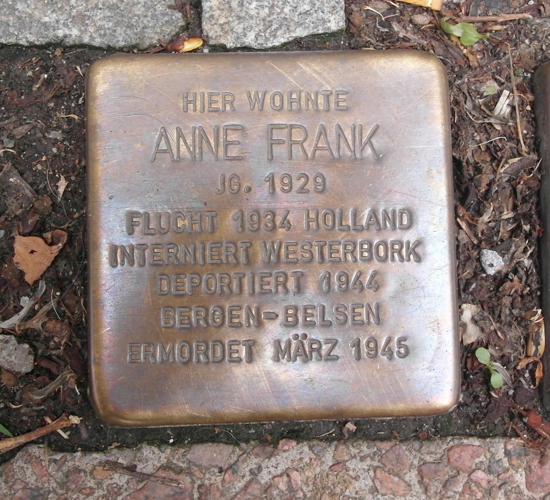 Stolperstein für Anne Frank in Aachen